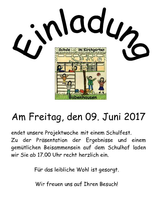 schule im kirchgarten: elternbriefe, Einladung
