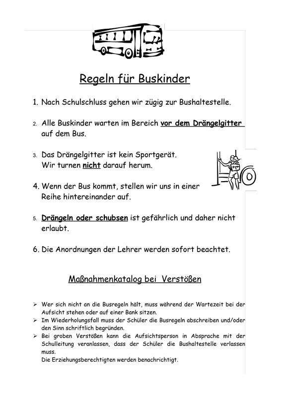 Regeln für Buskinder